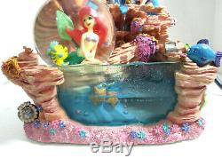 Disney The Little Mermaid Water Fall Fountain & Snowglobe Ariel Sebastian Rare