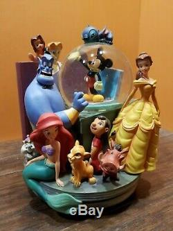 Disney Through Years Mickey Aladdin Lilo Stitch Ariel Bookend Water Snow Globe