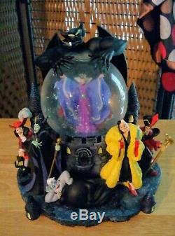 Disney Villains Musical Snowglobe Mint! Ursula Hook Cruella Maleficent SW Queen