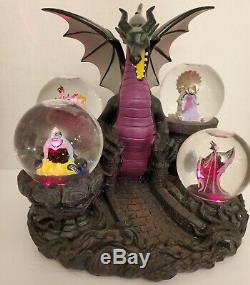 Disney Villains Snowglobe Dragon Maleficent the Evil Queen Ursula Jafar Rare LE