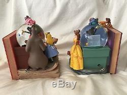 Disney Wonderful World of Disney Bookends Musical Blower Snow Globe-MIB