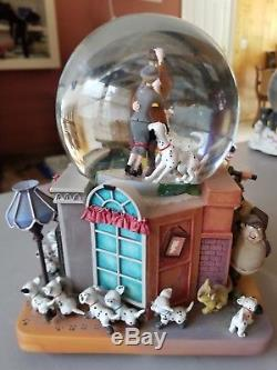 Disney's 101 Dalmatians Musical Snow Globe Roger, Anita, & Dalmatians