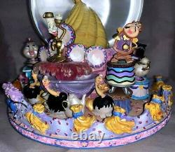 Disney's Beauty & the Beast Belle Musical Snow Globe Be Our Guest 1991 NWOB