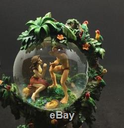 Disneys Tarzan & Jane In A Tree Musical Snow Globe Two Worlds Great Condition