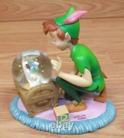 Genuine Disney Store Peter Pan & Tinker Bell In The Nursery Snow Globe Figurine