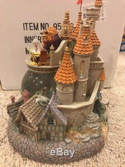 Large Disney Beauty & The Beast Village Snow Globe In Orig Box Light And Blower