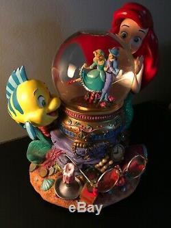 Little Mermaid Disney Japan Rare Snow Globe Plays Under the Sea Mint