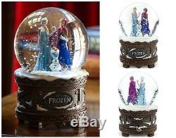 New Disney Store Frozen Elsa Anna Olaf Musical Snow Globe Plays Let it Go NIB