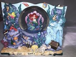 RARE 1988 Disney ARIEL MERMAID Double Side Book Musical Snow Globe UNDER THE SEA