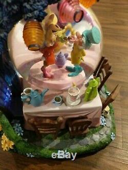 RARE Disney Alice In Wonderland Golden Afternoon Musical Lite Up Snow Globe