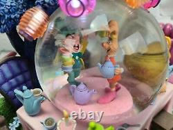 RARE Disney Alice in Wonderland Musical Light-up Snow Globe Tea Party