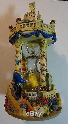 RARE Disney BEAUTY AND THE BEAST Hourglass Musical & Lights Snow Globe Imperfect