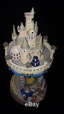 RARE Disney BEAUTY & THE BEAST Hourglass Musical Snow Globe BATB Belle Castle
