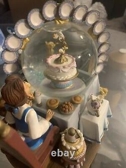 RARE Disney Beauty and the Beast Be Our Guest Belle Snow Globe Displayed Vintage