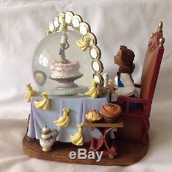 RARE Disney Beauty & the Beast DINNER FIESTA Musical Spins Snowglobe