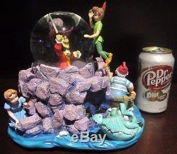 RARE Disney Catalog Peter Pan Captain Hook Wendy Tic Toc Snowglobe Music Box