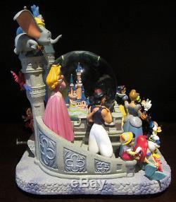 RARE Disney Cinderella Castle Character Dumbo Fab 5 Baloo Snowglobe Music Box