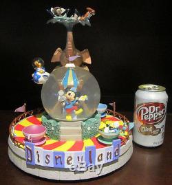 RARE Disney Disneyland Mad Teaparty Teacup Ride Mickey Goofy Snowglobe Music box