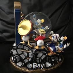 RARE Disney Donald Duck THROUGH THE YEARS Multi Figurines Musical SnowGlobe-MIOS
