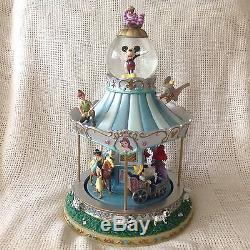 RARE Disney Mickey Alice WORLD OF CAROUSEL Musical Rotating Snow Globe-MIB-HTF