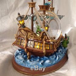 RARE Disney PETER PAN JOLLY ROGERS Musical Rotating Fig Lite Up Snowglobe-MIB