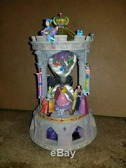RARE Disney Sleeping Beauty Musical Snowglobe Hourglass Aurora Maleficent