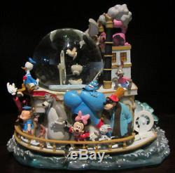 RARE Disney Steamboat Willie Mickey Mouse Character Ship Snowglobe Music Box