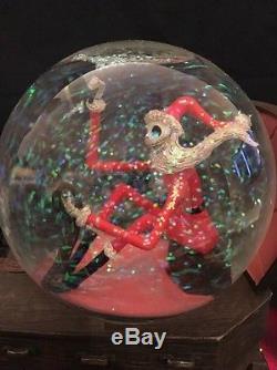 RARE Nightmare Before Christmas Santa Jack Bone Deer Sleigh Snow Globe Disney