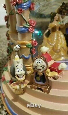 RARE WITH BOX! Disney Beauty And The Beast Belle Wedding Gazebo Music Snow Globe