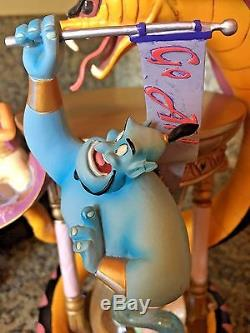 Rare Disney Aladdin Hourglass Musical Lighted Snow Globe Jasmine Jafar The Genie