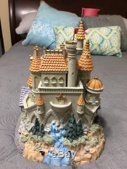 Rare Disney Huge Beauty & The Beast Village Lighted Blower Castle Snow Globe
