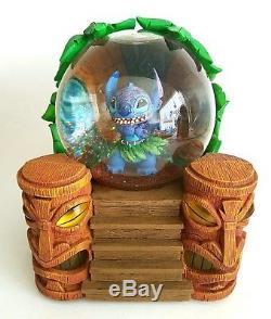 Rare Disney Lilo & Stitch Light Up Musical Snow Globe Tiki Hut HTF