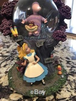 Rare Disney Parks Alice In Wonderland Cheshire Cat Snow Globe I'm Late 95782