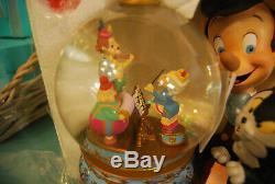 Rare Disney Pinocchio and Figaro Magic Musical Snow Globe NEW Brahm's Waltz
