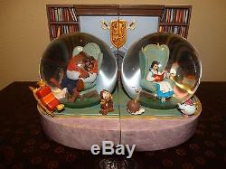 Rare Retired Disney Beauty and the Beast Double Bookend Snowglobes