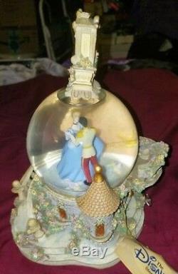 Retired rar Disney Cinderella so this is love Musical Light up Clock Snow Globe