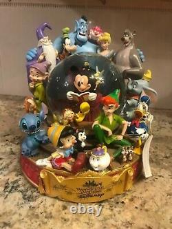 The Wonderful World Of Disney Group Musical Snow Globe Mickey Reads Genie Stitch