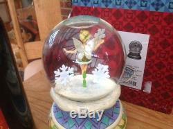 V v rare huge disney tradition'xmas tinkerbell musical/rotating snowglobe' 7