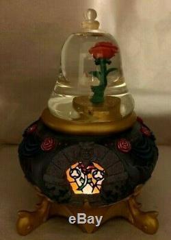 VINTAGE RARE Disney Beauty & The Beast Snow Globe LIGHT UP ROSE, NWOB SNOWGLOBE