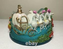 Vintage Disney Cinderella Lot Snow Globe Music Box Crystal Slipper Candle Holder