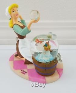 Vintage Disney Store Cinderella with Gus Jaq Bubbles Snowglobe Water Snow Globe NR