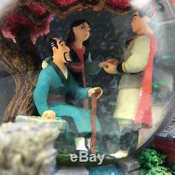 WALT DISNEY SNOWGLOBE snowdome water ball Mulan reflection music box mushu shang
