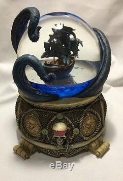 Walt Disney Pirates Of The Caribbean Musical Snow Globe Black Pearl Octopus