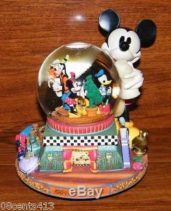 Walt Disney World Mickey Mouse Snowglobe Scrolling Pictures Music Box NEW