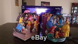 World of Disney Through The Years Vol I 1 & II 2 Bookend Snowglobe Musical